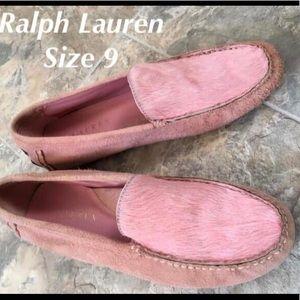 Ralph Lauren calf hair pink loafers size 9